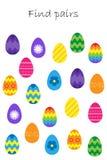 Βρείτε τα ζευγάρια των ίδιων εικόνων, παιχνίδι εκπαίδευσης διασκέδασης με τα αυγά Πάσχας για τα παιδιά, προσχολική δραστηριότητα  ελεύθερη απεικόνιση δικαιώματος