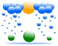 Βροχή και σύννεφο λογότυπων σχεδίων διανυσματική απεικόνιση