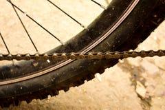 Βρώμικος λερωμένος σκονισμένος αλυσίδων ροδών ποδηλάτων στοκ εικόνα