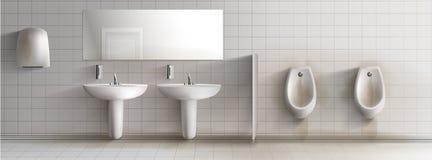 Βρώμικο δημόσιο ρεαλιστικό διανυσματικό εσωτερικό τουαλετών απεικόνιση αποθεμάτων