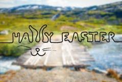 Γέφυρα στα βουνά της Νορβηγίας, καλλιγραφία ευτυχές Πάσχα στοκ εικόνα με δικαίωμα ελεύθερης χρήσης