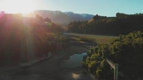 Γέφυρες πέρα από τον ποταμό Rakaia, φαράγγι Rakaia, Νέα Ζηλανδία, νότιο νησί απόθεμα βίντεο