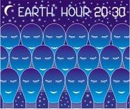 Γήινη ώρα Πολλοί λαμπτήρες, που σύρονται από ένα άσπρο περίγραμμα, ύπνος ενάντια στον έναστρο ουρανό Κείμενο: Γήινη ώρα 20:30 ελεύθερη απεικόνιση δικαιώματος