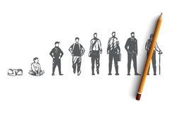 Γήρανση, αρσενικό, αγόρι, άτομο, παλαιός, έννοια ανθρώπων Συρμένο χέρι απομονωμένο διάνυσμα διανυσματική απεικόνιση