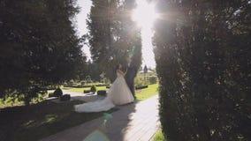 Γαμήλιο ζεύγος από κοινού Καλοί νεόνυμφος και νύφη ευτυχής εκλεκτής ποιότητας γάμος ημέρας ζευγών ιματισμού απόθεμα βίντεο
