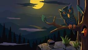 Γειά σου απεικόνιση κουκουβαγιών κινούμενων σχεδίων νύχτας διανυσματική απεικόνιση