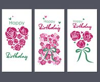 γενέθλια ευτυχή Σύνολο τριών ευχετήριων καρτών απεικόνιση αποθεμάτων