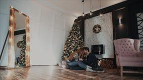 Γενική άποψη σχεδίων μιας συνεδρίασης ζευγών αντίθετης δίπλα στο χριστουγεννιάτικο δέντρο και την καλή ομιλία φιλμ μικρού μήκους