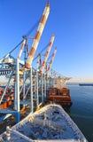Γερανοί ατσάλινων σκελετών χειρισμού εμπορευματοκιβωτίων σε ένα τερματικό εμπορευματοκιβωτίων Σκάφη στην αποβάθρα Χάιφα Ισραήλ στοκ εικόνες με δικαίωμα ελεύθερης χρήσης