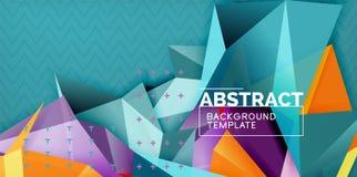 Γεωμετρικό αφηρημένο υπόβαθρο χρώματος, ελάχιστο σχέδιο αφαίρεσης με την τρισδιάστατη μορφή ύφους μωσαϊκών διανυσματική απεικόνιση