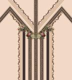 Γεωμετρικό καφετί μπαρόκ χρυσό σχέδιο λουλουδιών γραμμών στοκ φωτογραφία με δικαίωμα ελεύθερης χρήσης