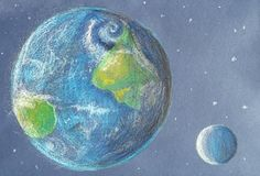 Γη και φεγγάρι στο φως ήλιων στο ύφος κραγιονιών ελεύθερη απεικόνιση δικαιώματος