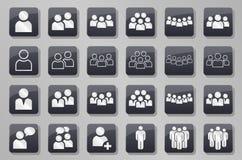 Γκρίζο σύνολο κουμπιών ομάδων ανθρώπων προσώπων απεικόνιση αποθεμάτων