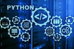 Γλώσσα προγραμματισμού Python στο υπόβαθρο δωματίων κεντρικών υπολογιστών Αφηρημένη έννοια αλγορίθμου ροής της δουλειάς Programin στοκ φωτογραφία με δικαίωμα ελεύθερης χρήσης