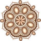 γλυκιά διακόσμηση mandala πολύτιμων λίθων καφέ για το σχέδιο Ιστού στοκ εικόνες με δικαίωμα ελεύθερης χρήσης