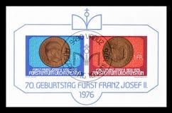 Γραμματόσημα που τυπώνονται από το Λιχτενστάιν στοκ εικόνα με δικαίωμα ελεύθερης χρήσης