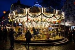 Γύρος παιδιών στο ιπποδρόμιο στην αγορά Χριστουγέννων στοκ φωτογραφίες με δικαίωμα ελεύθερης χρήσης