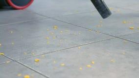 Γυναίκα που σκουπίζει το πάτωμα κουζινών με το γκρίζο κεραμίδι χωρίς βούρτσα, μόνο σωλήνας της ηλεκτρικής σκούπας με ηλεκτρική σκ απόθεμα βίντεο