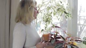 Γυναίκα που φαίνεται σκεπτικά έξω το παράθυρο και ο χυμός κατανάλωσης φιλμ μικρού μήκους