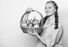 Γυναικείος αγρότης ή κηπουρός υπερήφανος της φυσική έννοια δώρων συγκομιδών Η γυναίκα εύθυμη φέρνει το καλάθι με τα φυσικά φρούτα στοκ φωτογραφίες