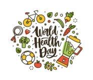 Εγγραφή ημέρας παγκόσμιας υγείας χειρόγραφη από τη ρέουσα πηγή και που περιβάλλει από ολόκληρο το θρεπτικό εξοπλισμό τροφίμων και απεικόνιση αποθεμάτων
