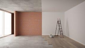 Εγχώρια ανακαίνιση, διαδικασία αναδιάρθρωσης, επισκευή και ζωγραφική τοίχων, έννοια κατασκευής Τούβλο και χρωματισμένοι τοίχοι, π απεικόνιση αποθεμάτων