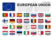 ΕΕ της Ευρωπαϊκής Ένωσης και σημαία ιδιότητας μέλους Ένωση 28 χωρών Στρογγυλοί κουμπί ορθογωνίων γωνίας λαμπροί και χάρτης της Ευ διανυσματική απεικόνιση