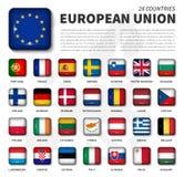ΕΕ της Ευρωπαϊκής Ένωσης και σημαία ιδιότητας μέλους Ένωση 28 χωρών Στρογγυλοί λαμπροί τετραγωνικοί κουμπί γωνίας και χάρτης της  απεικόνιση αποθεμάτων