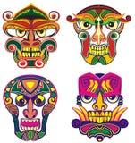 Εθνικές μάσκες ή φυλετικές μάσκες διανυσματική απεικόνιση