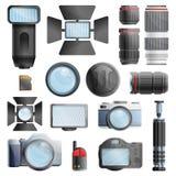 Εικονίδια εξοπλισμού φωτογράφων καθορισμένα, ύφος κινούμενων σχεδίων διανυσματική απεικόνιση