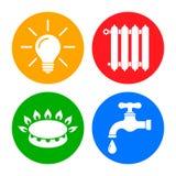 Εικονίδια χρησιμοτήτων στο επίπεδο ύφος: νερό, αέριο, φωτισμός, «διάνυσμα θέρμανση †διανυσματική απεικόνιση