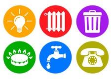 Εικονίδια χρησιμοτήτων στο επίπεδο ύφος: νερό, αέριο, φωτισμός, θέρμανση, τηλέφωνο, διάνυσμα αποβλήτων †« διανυσματική απεικόνιση