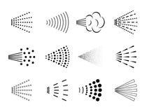 Εικονίδιο ψεκασμού Ο ψεκαστήρας αέρα μπουκαλιών, αερόλυμα ακροφυσίων λουτρών ψεκάζει, διεσπαρμένο μαύρο αποσμητικό, πτώσεις καθαρ ελεύθερη απεικόνιση δικαιώματος