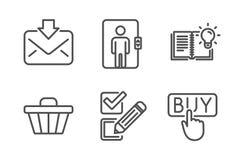 Εισερχόμενο ταχυδρομείο, κάρρο καταστημάτων και εικονίδια ανελκυστήρων καθορισμένα Σημάδια γνώσης, τετραγωνιδίου και αγοράς προϊό διανυσματική απεικόνιση