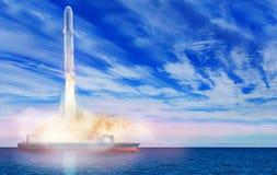 Εκτόξευση έναρξης θάλασσας του διαστημικού πυραύλου από το σκάφος στοκ φωτογραφίες με δικαίωμα ελεύθερης χρήσης