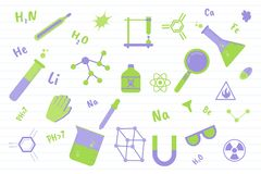Εκπαίδευση επιστήμης χημείας με τα διάφορα αντικείμενα και το υπόβαθρο γραμμών εγγράφου - διανυσματική απεικόνιση διανυσματική απεικόνιση