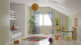 Ελάχιστο δωμάτιο παιδιών με πολλές παιχνίδια και τρισδιάστατη απεικόνιση κρεβατιών κουκετών διανυσματική απεικόνιση