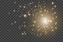 Ελαφριά επίδραση Έκρηξη αστεριών με τα σπινθηρίσματα Ο χρυσός ακτινοβολεί σύσταση EPS10 διανυσματική απεικόνιση