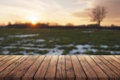 Ελεύθερου χώρου για τη διαφήμισή σας, παλαιός ξύλινος πίνακας στο υπόβαθρο του πρώιμου ελατηρίου, αγροτικό τοπίο στο ηλιοβασίλεμα στοκ εικόνες