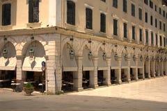 Ελλάδα, Κέρκυρα, το Liston arcade στοκ εικόνα