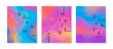 Εμπνευσμένες και κινητήριες αφίσες με τις μορφές ρέοντας υγρού νέου και τα γεωμετρικά στοιχεία στοκ φωτογραφίες