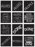 Εμπνευσμένο σύνολο αποσπάσματος καλλιγραφίας Κίνητρο για τη ζωή και την ευτυχία απεικόνιση αποθεμάτων