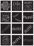 Εμπνευσμένο σύνολο αποσπάσματος καλλιγραφίας Κίνητρο για τη ζωή και την ευτυχία ελεύθερη απεικόνιση δικαιώματος