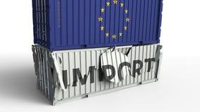Εμπορευματοκιβώτιο με το κείμενο ΕΙΣΑΓΩΓΩΝ που συντρίβεται με το εμπορευματοκιβώτιο με τη σημαία της ΕΕ της Ευρωπαϊκής Ένωσης, εν διανυσματική απεικόνιση