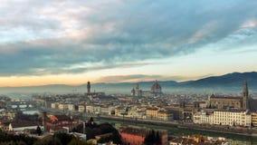 Εναέρια άποψη της Φλωρεντίας, Ιταλία στο ηλιοβασίλεμα Καθεδρικός ναός Σάντα Μαρία απόθεμα βίντεο