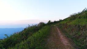 Εναέρια άποψη της πορείας ιχνών πεζοπορίας στο βουνό απόθεμα βίντεο