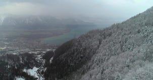 Εναέρια άποψη του δάσους με το χιόνι στο montain με τη λίμνη στο υπόβαθρο φιλμ μικρού μήκους