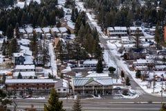 Εναέρια άποψη citycape της καυτής άνοιξης ραδίου, Βρετανική Κολομβία Καναδάς το χειμώνα Κατοικημένες και commerical περιοχές jan  στοκ φωτογραφία με δικαίωμα ελεύθερης χρήσης