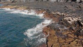 Εναέριος πυροβολισμός κυκλικό ράντισμα κυμάτων μπλε και τυρκουάζ στο χρώμα και την ηφαιστειακή ακτή των πετρών και ξηρό απόθεμα βίντεο