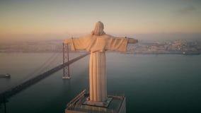 Εναέριο μήκος σε πόδηα του αδύτου Χριστού ο βασιλιάς στη Λισσαβώνα, καθολικό μνημείο φιλμ μικρού μήκους